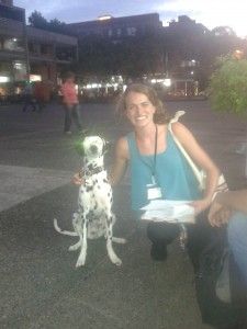Roberta Hutton taking a break from carrying out health surveys in Medellín, Colombia.